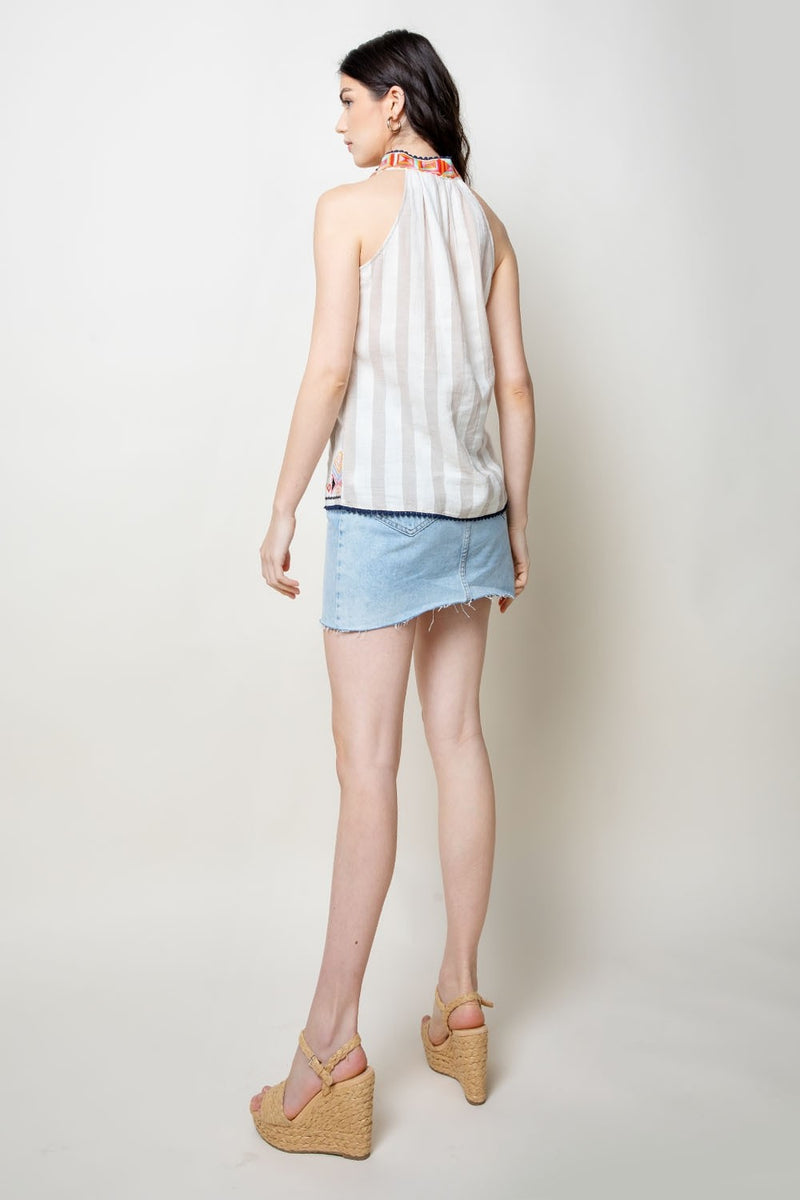 LAST CALL SIZE M | Striped Sleeveless Top with Embroidered Neckline