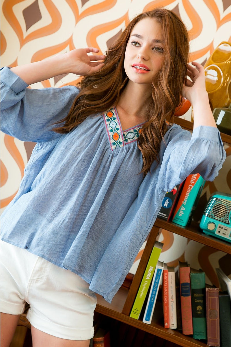 Long Sleeve Blouse with Embroidered V-Neck