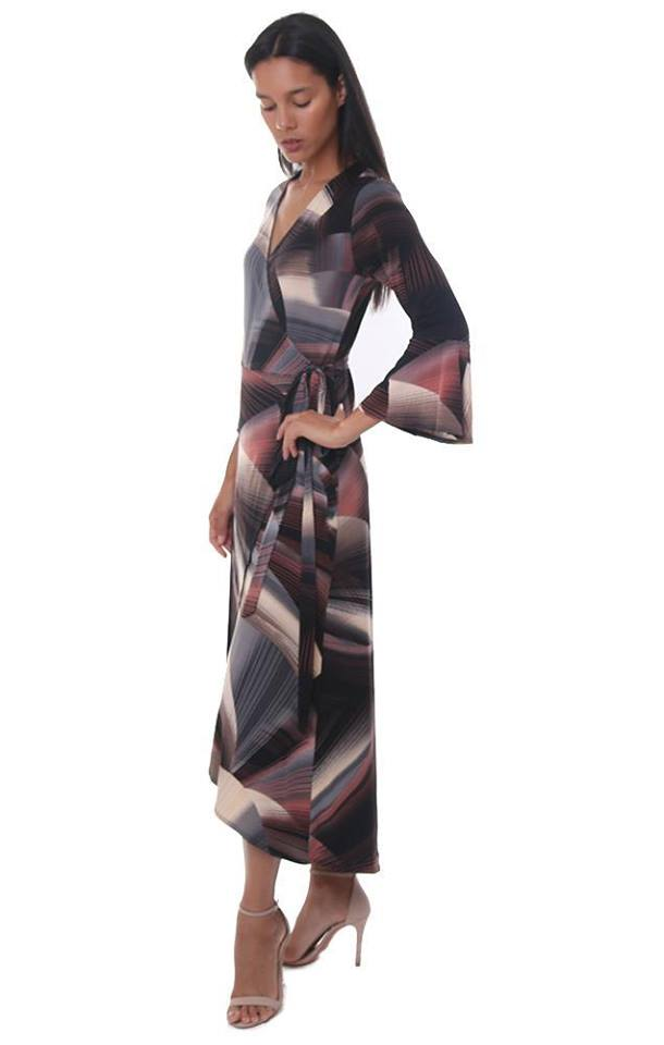 Geometric Print Wrap Max Dress