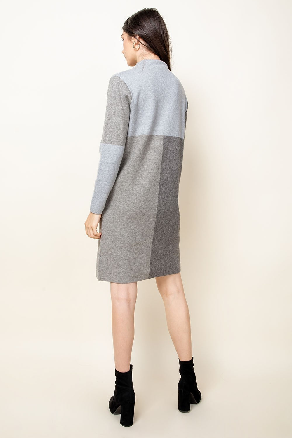 Grey Colorblock Sweater Dress
