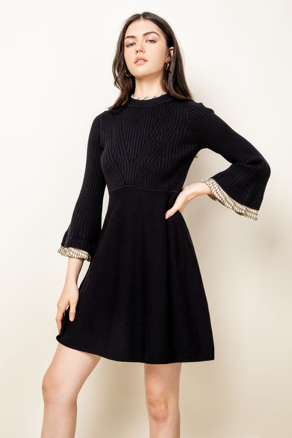 Bell Sleeve Sweater Dress