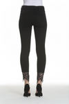 Black Cropped Skinny Jeans with Lace Hem