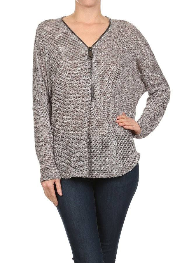 Dolman Sleeve Zip Up Knit Top in Taupe