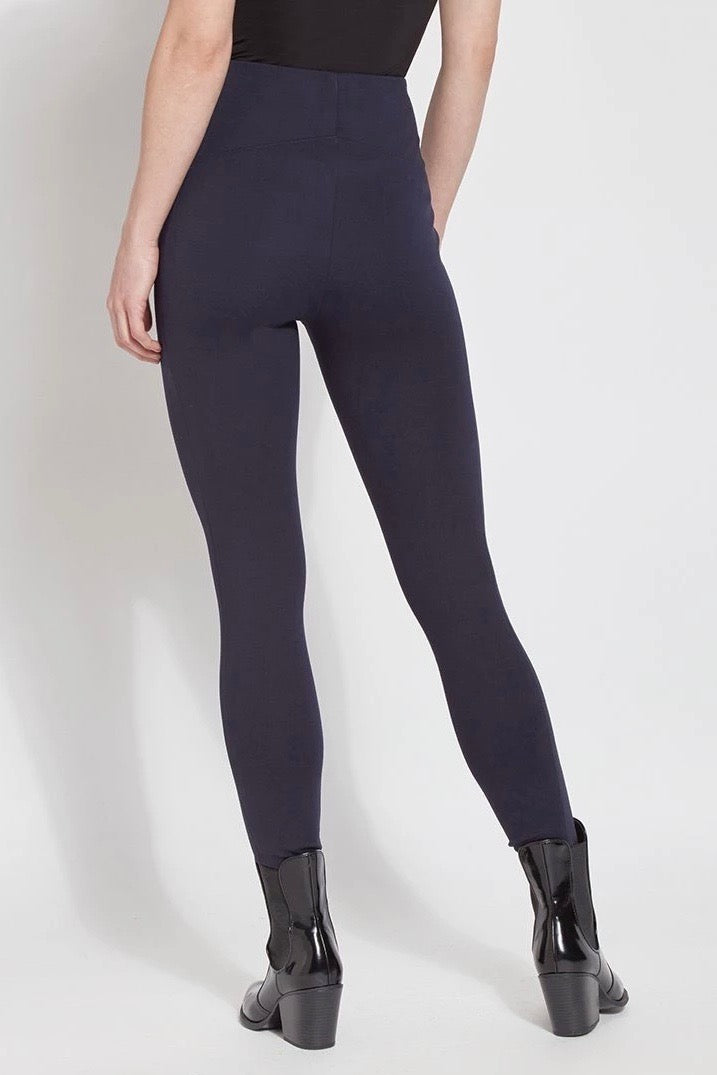 High-Waisted Structured Ponte Leggings in Navy