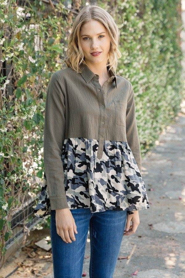 Button Down Camo Top in Olive