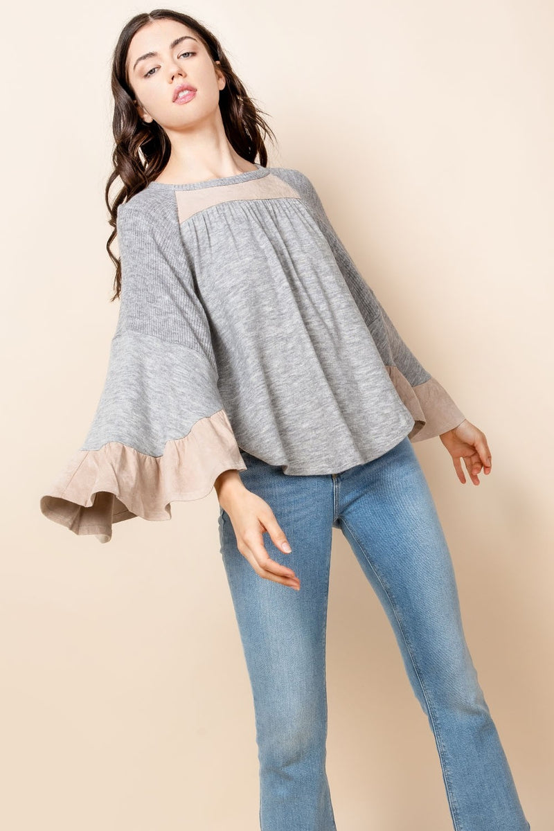 Grey Bell Sleeve Top with Suede Detailing