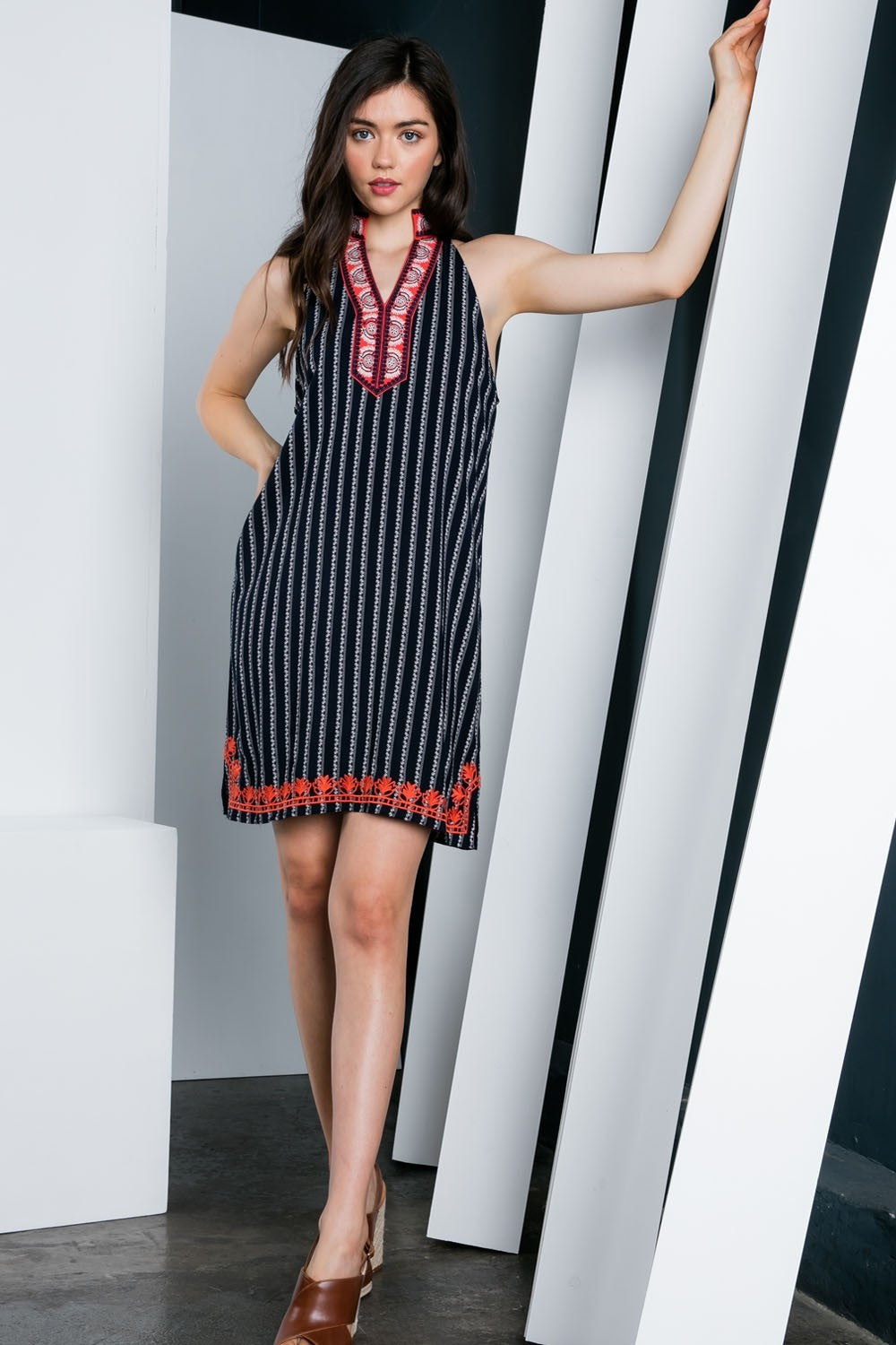 LAST CALL SIZE L  | Striped Halter Dress with Contrast Trim