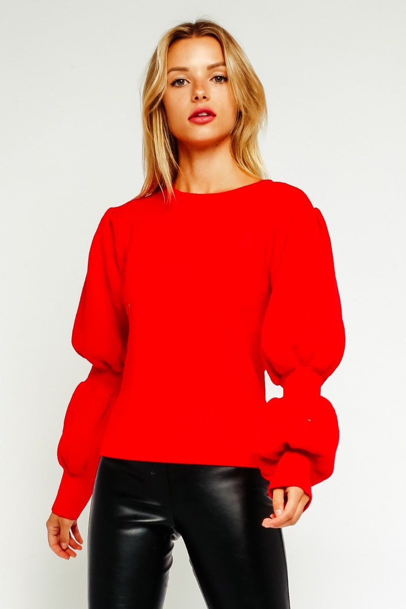 Fiery Red Bubble Sleeve Sweater