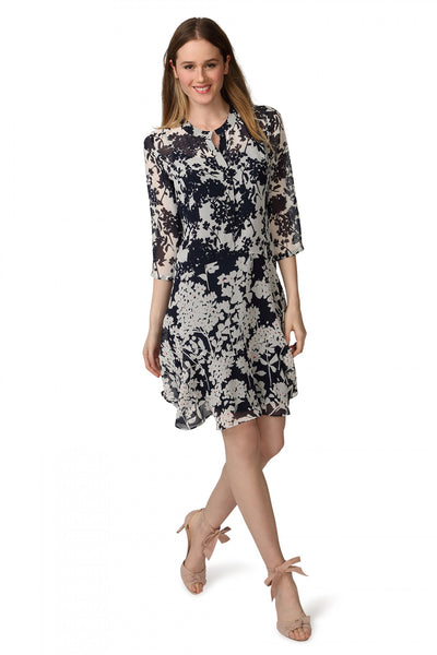 Floral Chiffon Flounce Dress