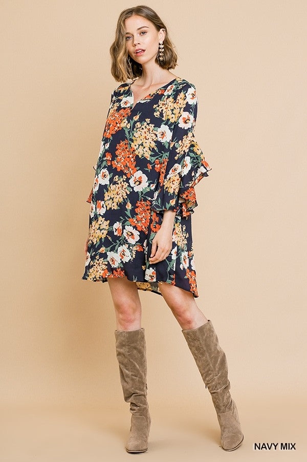 LAST CALL SIZE S | Floral Print Ruffle Bell Sleeve Split Neck Dress