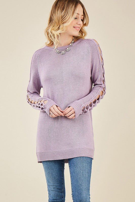 LAST CALL SIZE L | Crew Neck Sweater with Sleeve Cutouts in Lavender