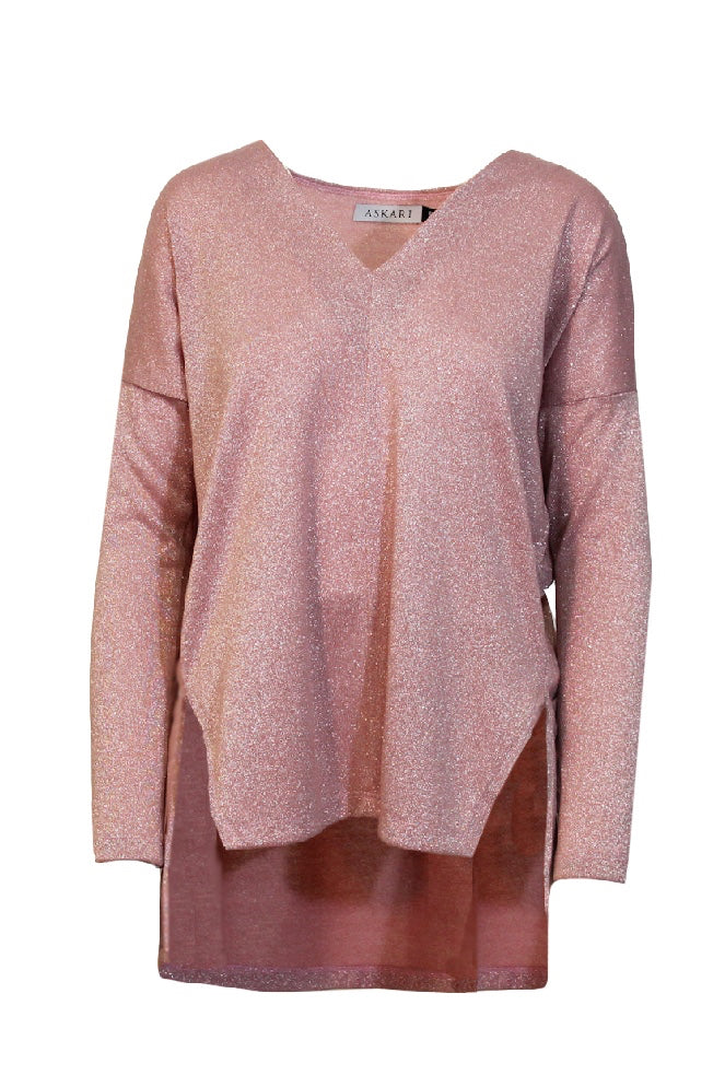 V-Neck Knit Tunic Top in Blush Sparkle
