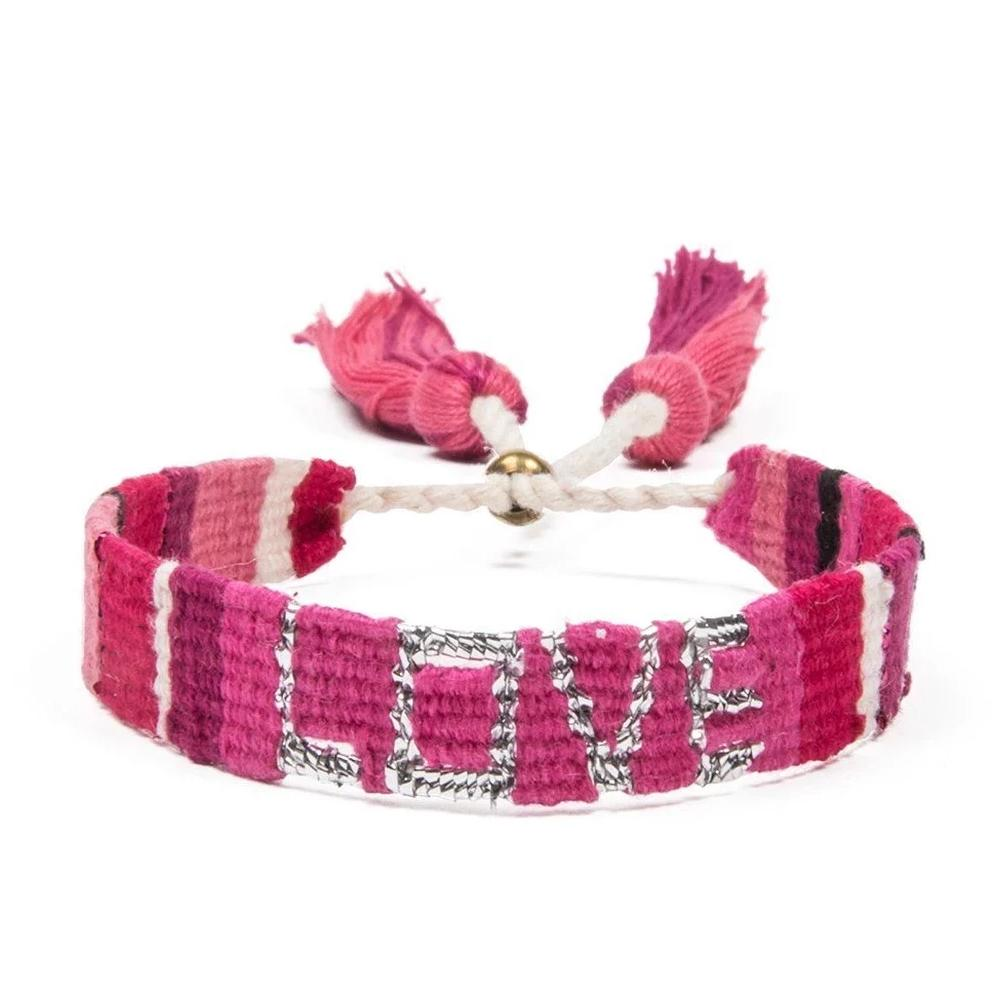 Woven Love Bracelet in Pink and Red