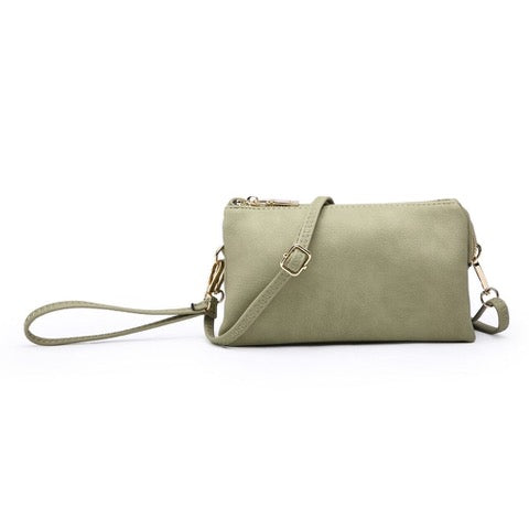 Three Compartment Wristlet Crossbody Bag in Moss