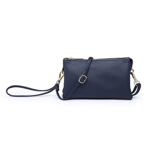Three Compartment Wristlet Crossbody Bag in Navy