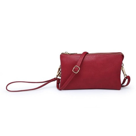 Three Compartment Wristlet Crossbody Bag in Wine