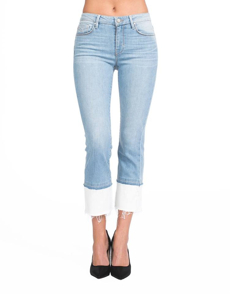 Cropped Demi Flare Denim with Color Blocking
