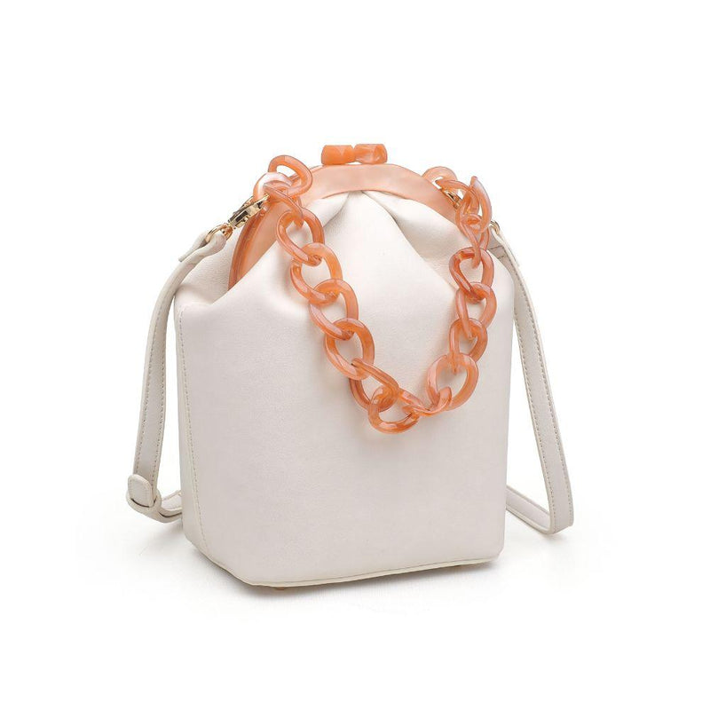 White Crossbody Bag with Chain Handle