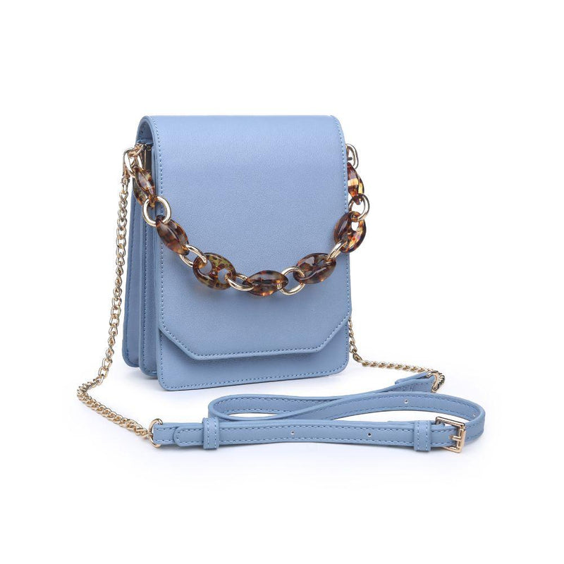 Powder Blue Vegan Leather Crossbody Bag