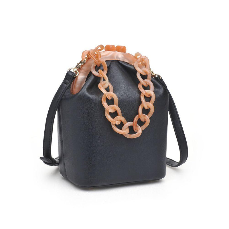 Black Crossbody Bag with Chain Handle