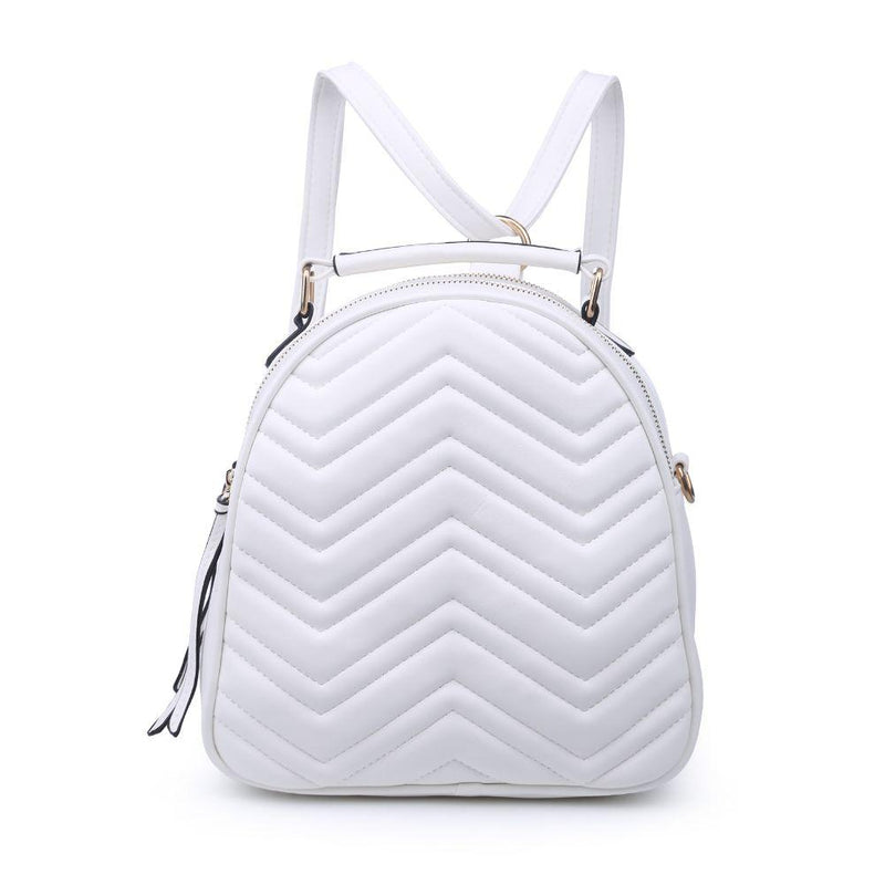 White Chevron Stitch Mini-Backpack