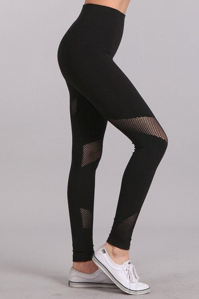 High Waist Mesh Panel Legging