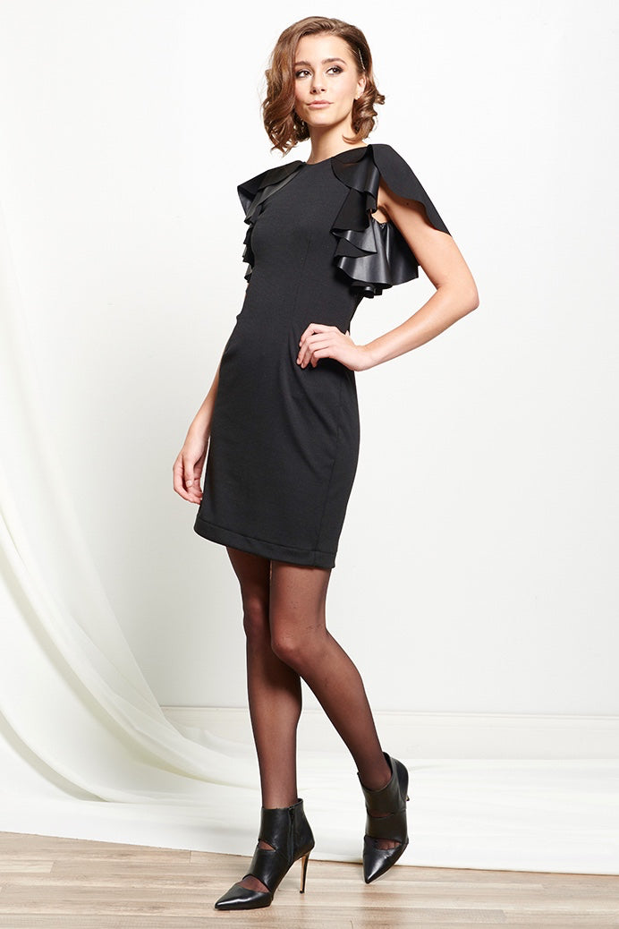 Vegan Leather Ruffle Sleeve Dress