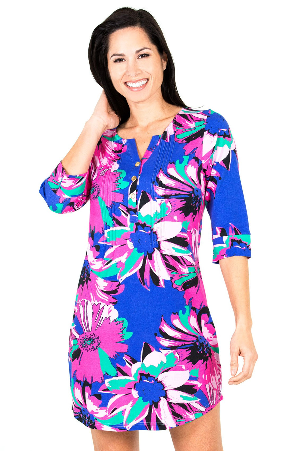 LAST CALL SIZE S | 3/4 Sleeve Sunflower Shirt Dress