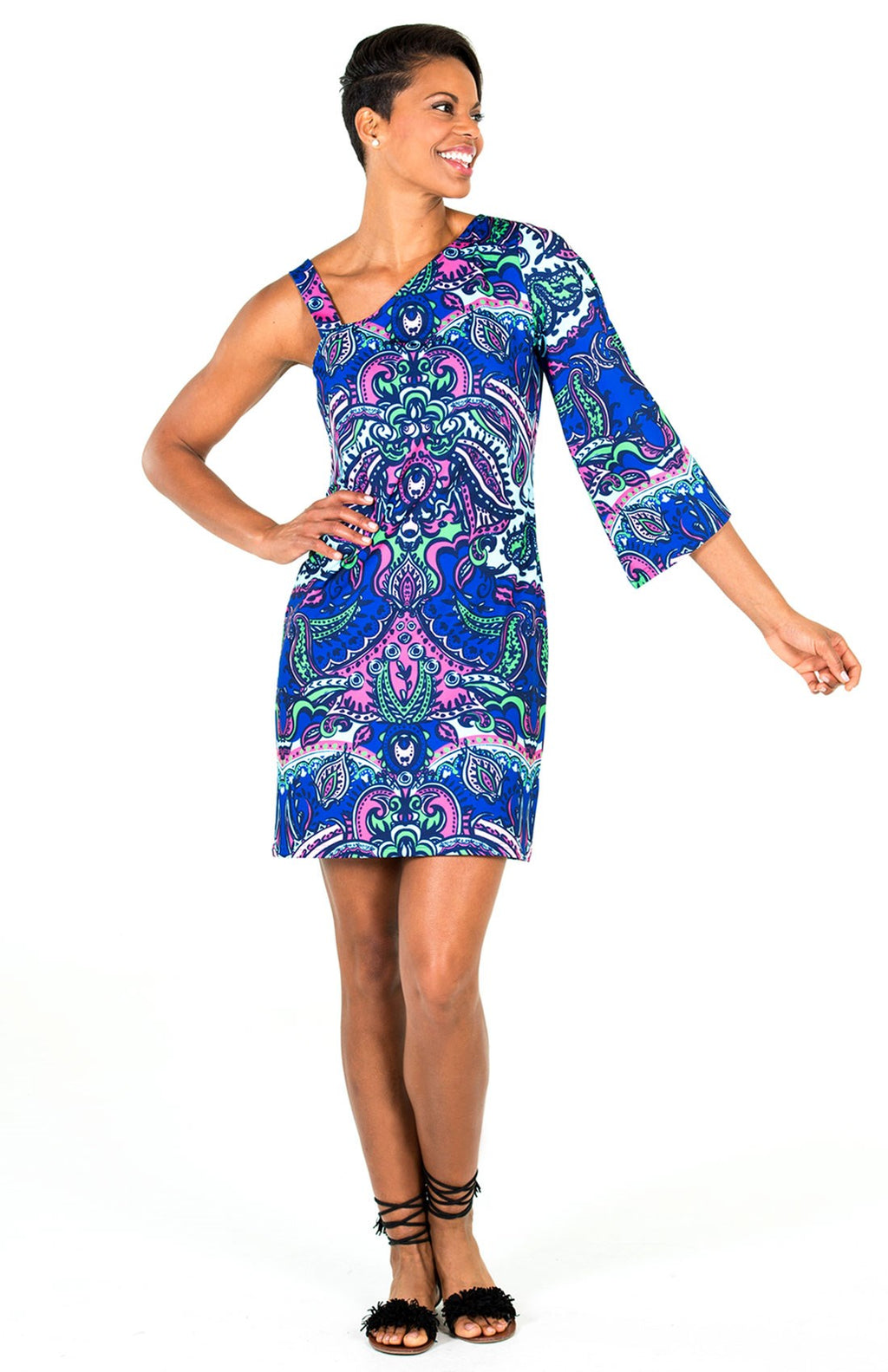 LAST CALL SIZE L | Paisley Printed One Shoulder Dress