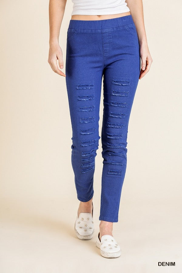 Ripped Frayed Skinny Leggings in Denim