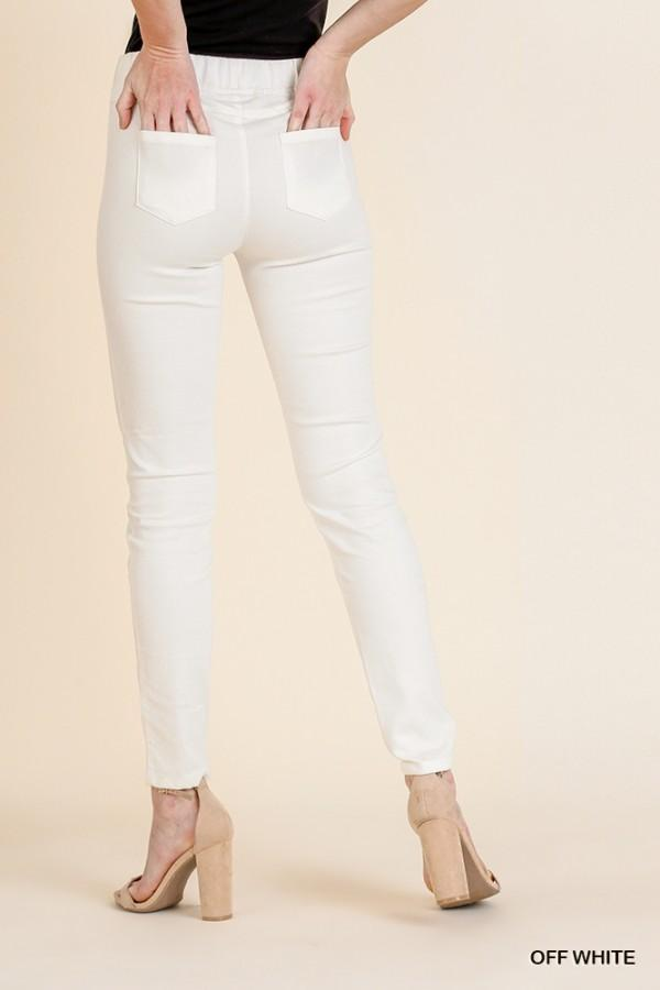 Ripped Frayed Skinny Leggings in Off White