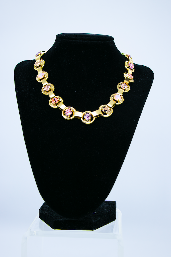 Crystal Gold Link Necklace