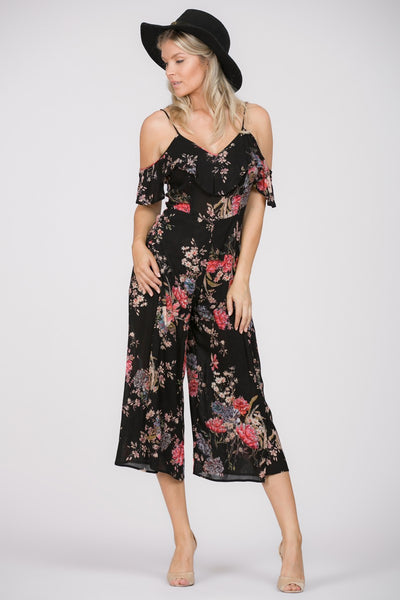 Dark Floral Slit Jumpsuit