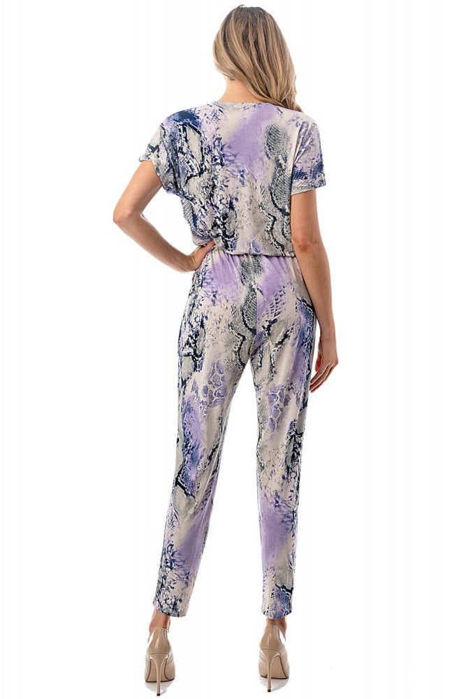 Cap Sleeve Jumpsuit Lilac Grey
