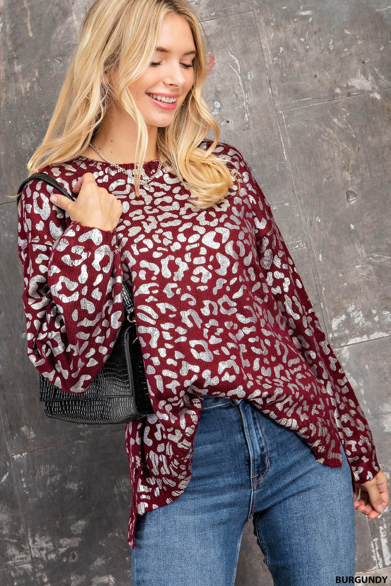 LAST CALL SIZE S | Sparkly Leopard Long Sleeve Top