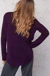LAST CALL XS/S | Long Sleeve V-Neck Sweater in Plum