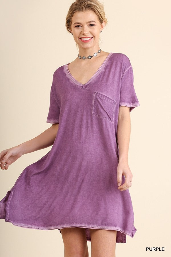 Washed V-Neck T-Shirt Dress in Purple