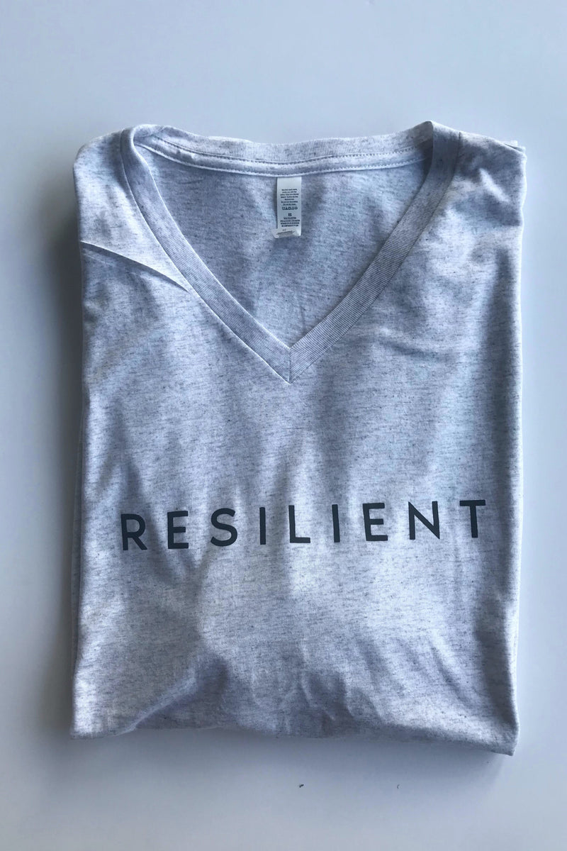 Resilient Graphic V-Neck T-Shirt in Light Charcoal