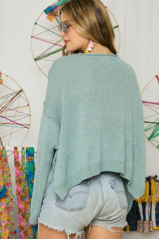 LAST CALL M/L | Solid Boatneck Sweater in Sage