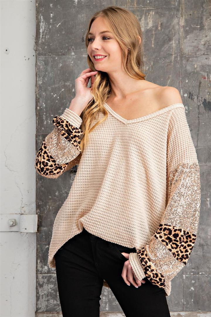 Leopard Print & Sequin Sleeve Waffle Knit Top in Oatmeal