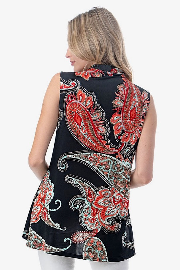 Sleeveless Paisley Top with Scarf & Grommet Neckline