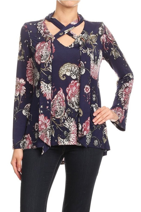 LAST CALL SIZE L | Floral Grommet Long Sleeve Top w/ Scarf