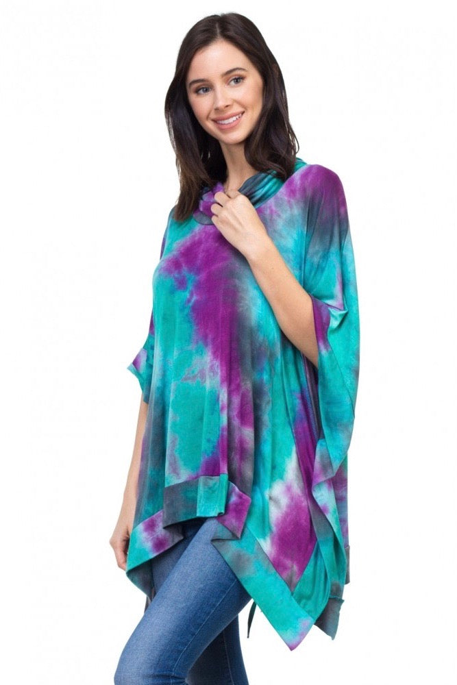 Uneven Hem Grommet Top Teal Purple Tie Dye