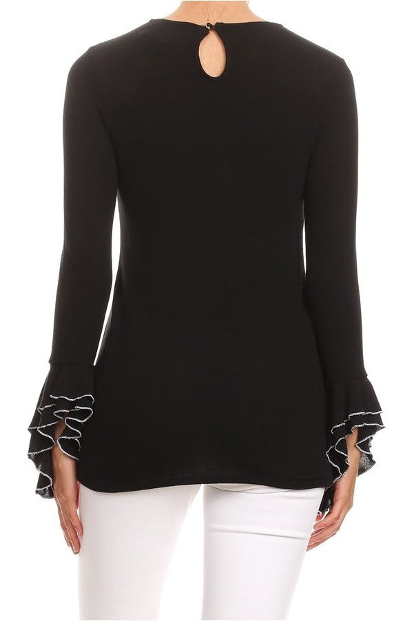 LAST CALL SIZE L |Double Ruffle Sleeve Sweater Top in Black