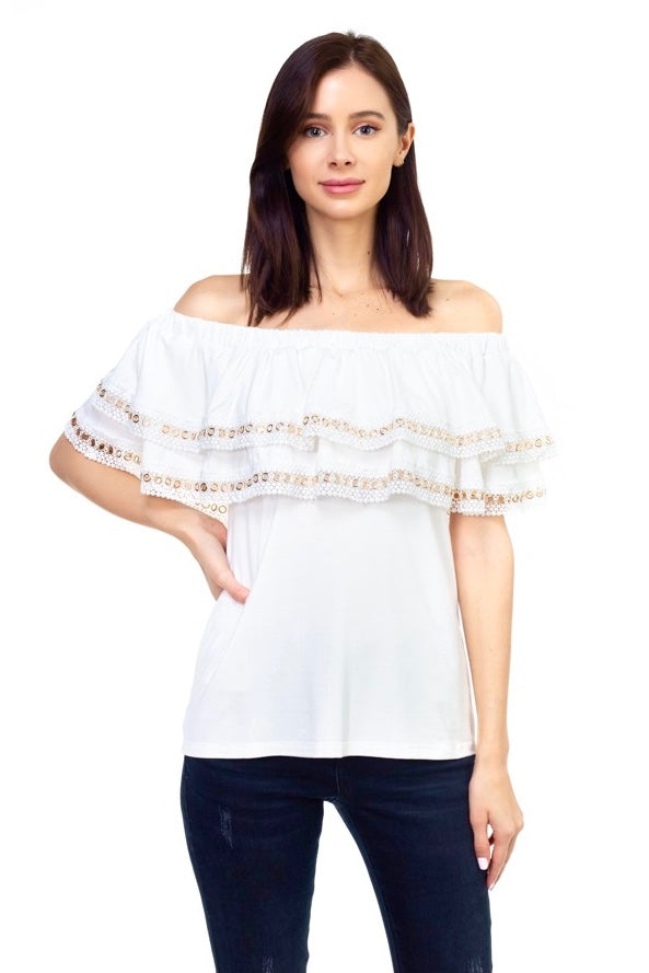Off Shoulder Grommet Detail Top in Ivory