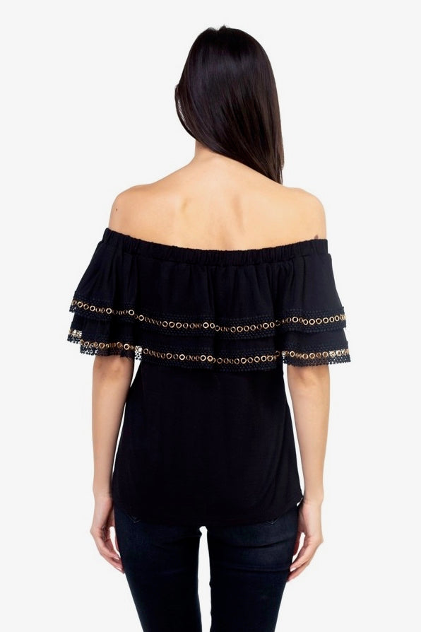 Off Shoulder Grommet Detail Top in Black Back