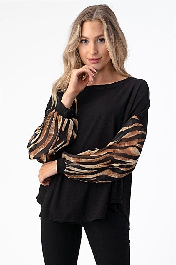 LAST CALL SIZE L | Sheer Tiger Print Bubble Sleeve Top