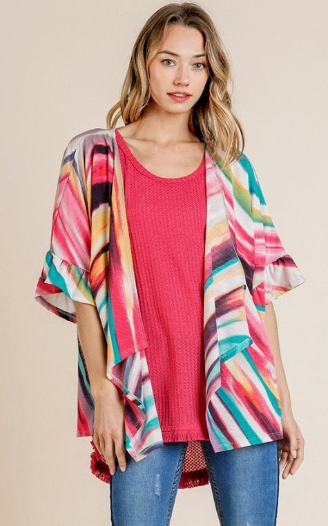 LAST CALL SIZE M | Multicolor Striped Kimono