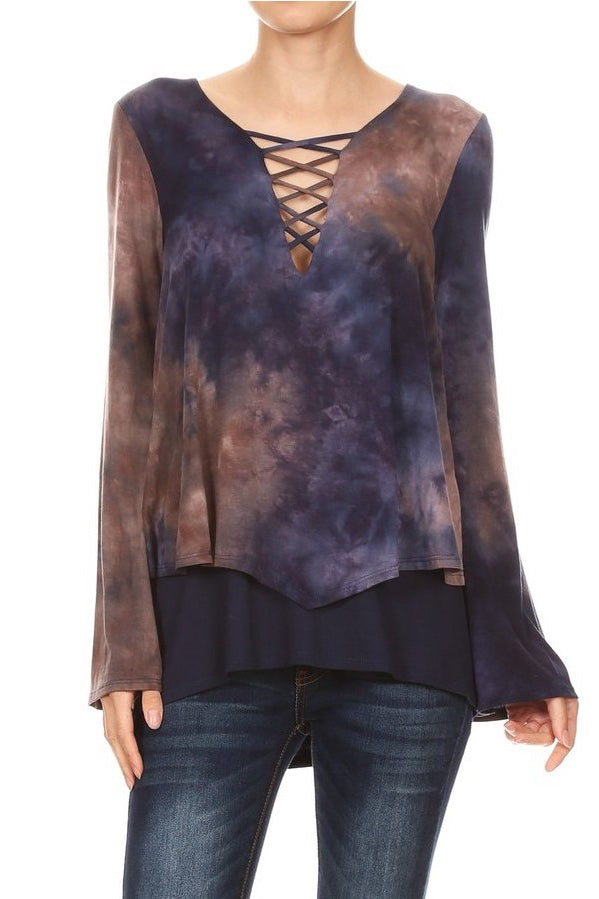 Tie Dye Double Layer Long Sleeve Top