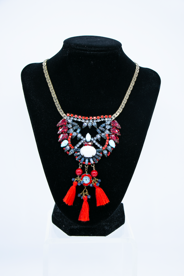 Tassel Tiered Crystal Pendant Necklace - front